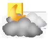 """Nachtsymbol, Symbolcode """"nd"""", Viele Wolken, etwas Sonne"""