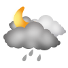 """Nachtsymbol, Symbolcode """"nf"""", Sonne, Wolken, Regenschauer"""