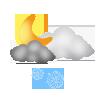 """Nachtsymbol, Symbolcode """"nl"""", Sonne, Wolken, Schneeschauer"""