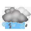 """Tagsymbol, Symbolcode """"r"""", Wolken, Schneeregen ohne Sonne"""