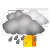 """Tagsymbol, Symbolcode """"v"""", Dichte Wolken, kräftige Regenschauer und Gewitter wahrscheinlich"""